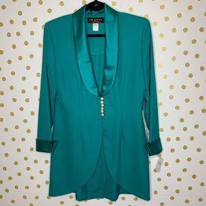 J.R. Nites Vintage Teal Satin Pearl Blazer Jacket
